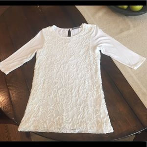 Loveappella White 3/4 Sleeve Top with Lace Overlay